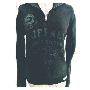 🌟 Black Cotton Buffalo David Bitton Sweater S